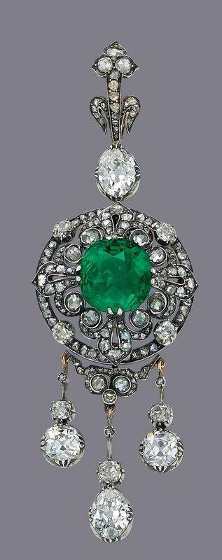 A fine emerald and diamond brooch