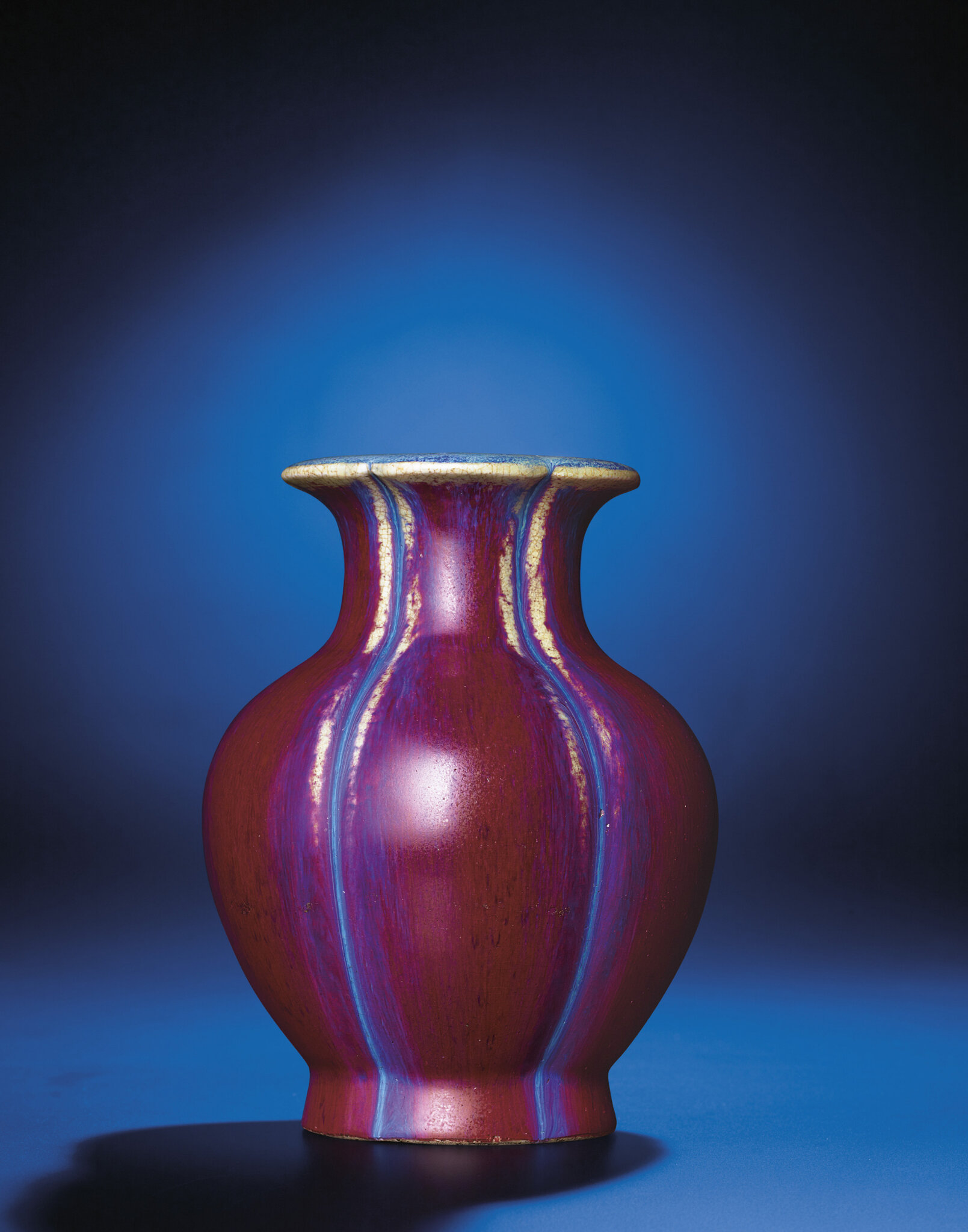A flambé-glazed lobed vase, Daoguang incised six-character seal mark and of the period (1821-1850)