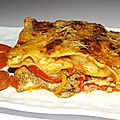 Lasagnes aux tomates, poivrons, chorizo et ossau-iraty