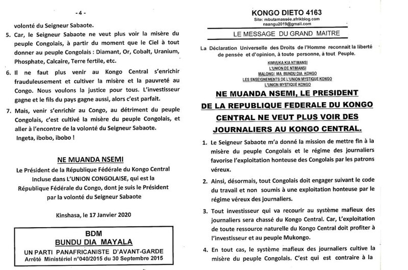 NE MUANDA NSEMI LE PRESIDENT DE L'ETAT FEDERAL DU KONGO CENTRAL NE VEUT PLUS VOIR DES JOURNALIERS AU KONGO CENTRAL a