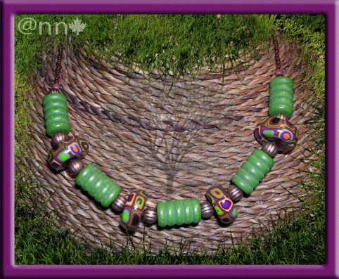 Collier FIMO multi multi et bois vert (N)