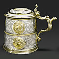 A german parcel-gilt silver tankard, makers mark double struck im..h, nuremberg, probably 1547-49