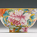 A gold-ground famille-rose 'mille-fleurs' bowl. qing dynasty, daoguang period (1821-1850)