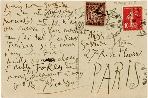 Letter from Picasso to Gertrude Stein