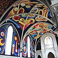 Le Menoux, église Notre-Dame, peintures, voûte et entrée
