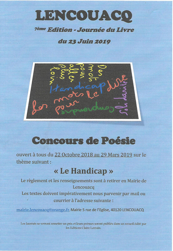 Affiche du concours de poésie 2019
