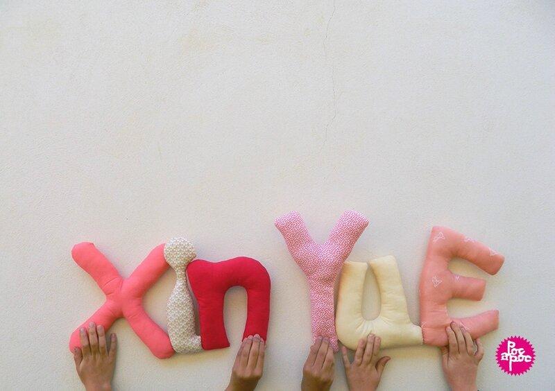 xin yue,mot en tissu,mot decoratif,cadeau de naissance,decoration chambre d'enfant,cadeau personnalise,cadeau original,poc a poc blog
