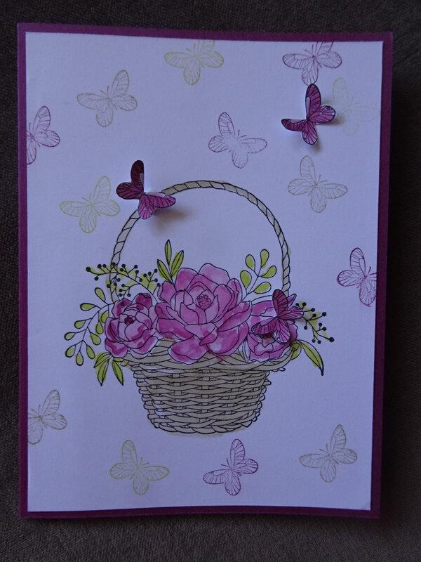 26b Carte panier fleurs et papillons