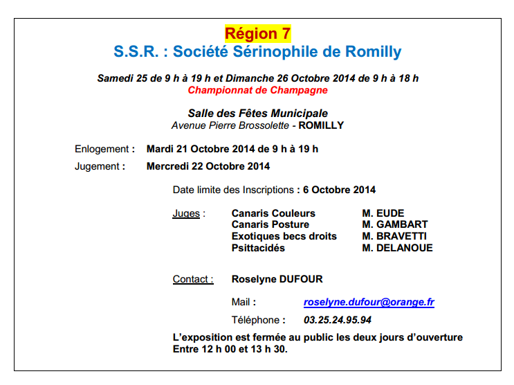 CONCOURS ROMILLY