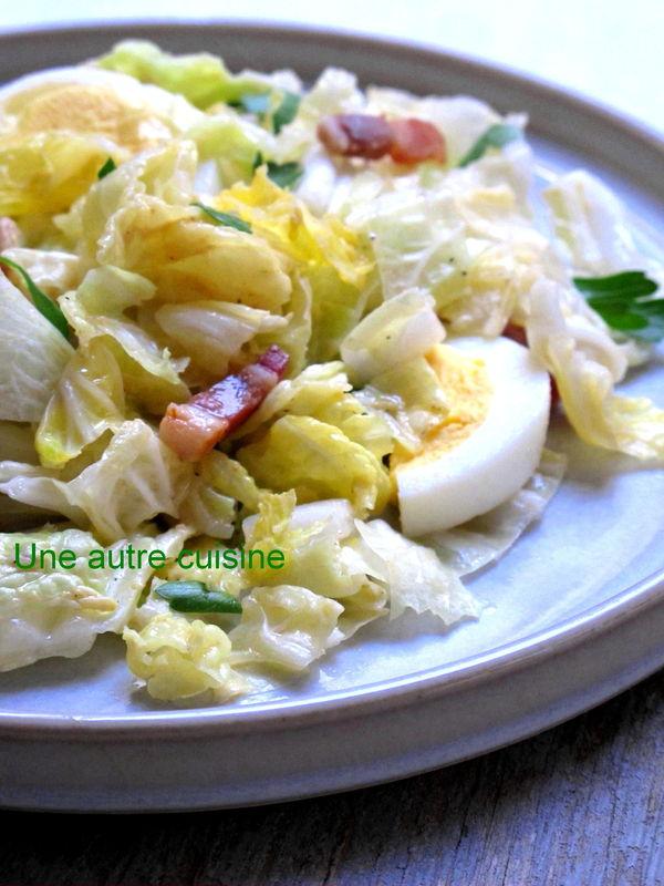 Salade de chou chinois aux lardons sauce moutarde une autre cuisine - Cuisiner du choux chinois ...