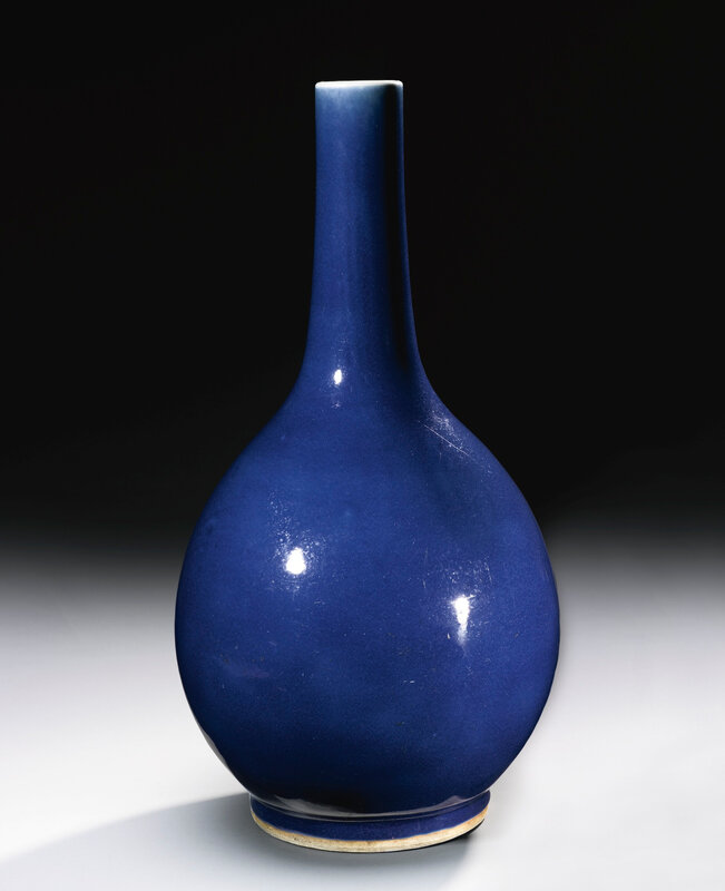 A blue-glazed bottle vase, Qianlong seal mark and period (1736-1795)1
