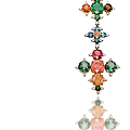 A tourmaline, garnet, emerald and diamond fibula brooch, by jar