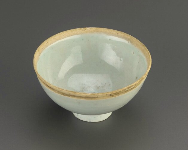 Cup with unglazed rim, 11th-early 12th century, Northern Song dynasty. Porcelain with translucent pale blue (qingbai) glaze, H: 5.4 W: 9.5 D: 9.5 cm, China. Gift of Mrs. Maureen R. Jacoby in memory of Rolf Jacoby. F1991.75. Freer/Sackler © 2014 Smithsonian