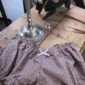 Culotte BIANCA en coton beige à pois - noeud rose (1)