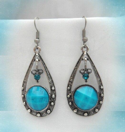 Boucles d'oreilles Tibétaines LUCINA Perle_Strass Turquoise Argent du Tibet