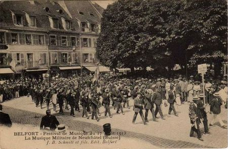 CPA Belfort Inauguration 3 Sièges 1913 Musique Neufchatel