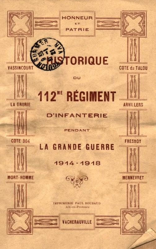 Historique 112e RI, couv