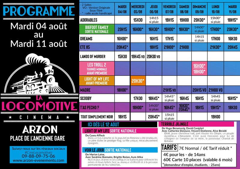 Programme La Locomotive 05 au 11 août_2