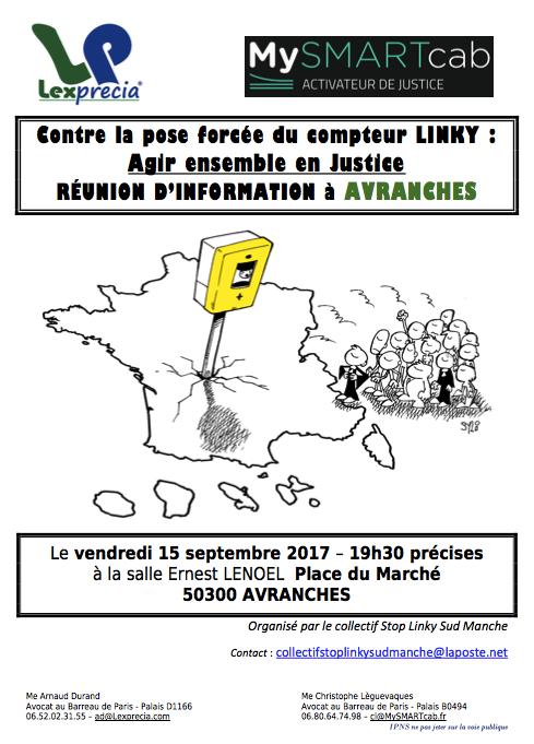 compteur stop linky Avranches septembre 2017 réunion affiche flyer