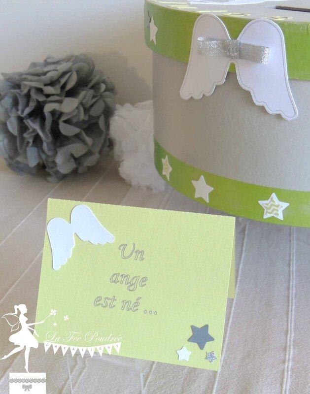 urne theme ange etoile faire part bapteme vert anis gris blanc pompon aile