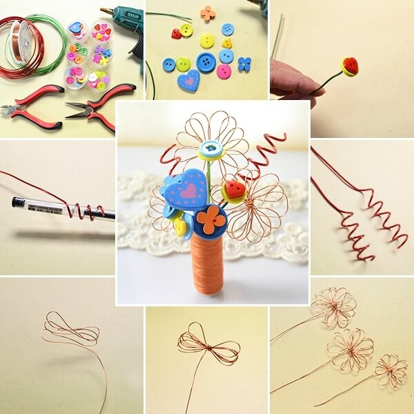 600-DIY Project for Kids – Making Lovely Buttons and Wire Wrapped Bouquet at Home