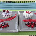 Douceurs au lait d'amandes pistaches et fruits rouges glacees