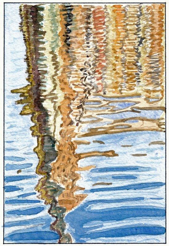 26 Sablé - Reflet de l'église dans la Sarthe (vu depuis la rue du Moulin) 1995 07 29 (2 de 4)