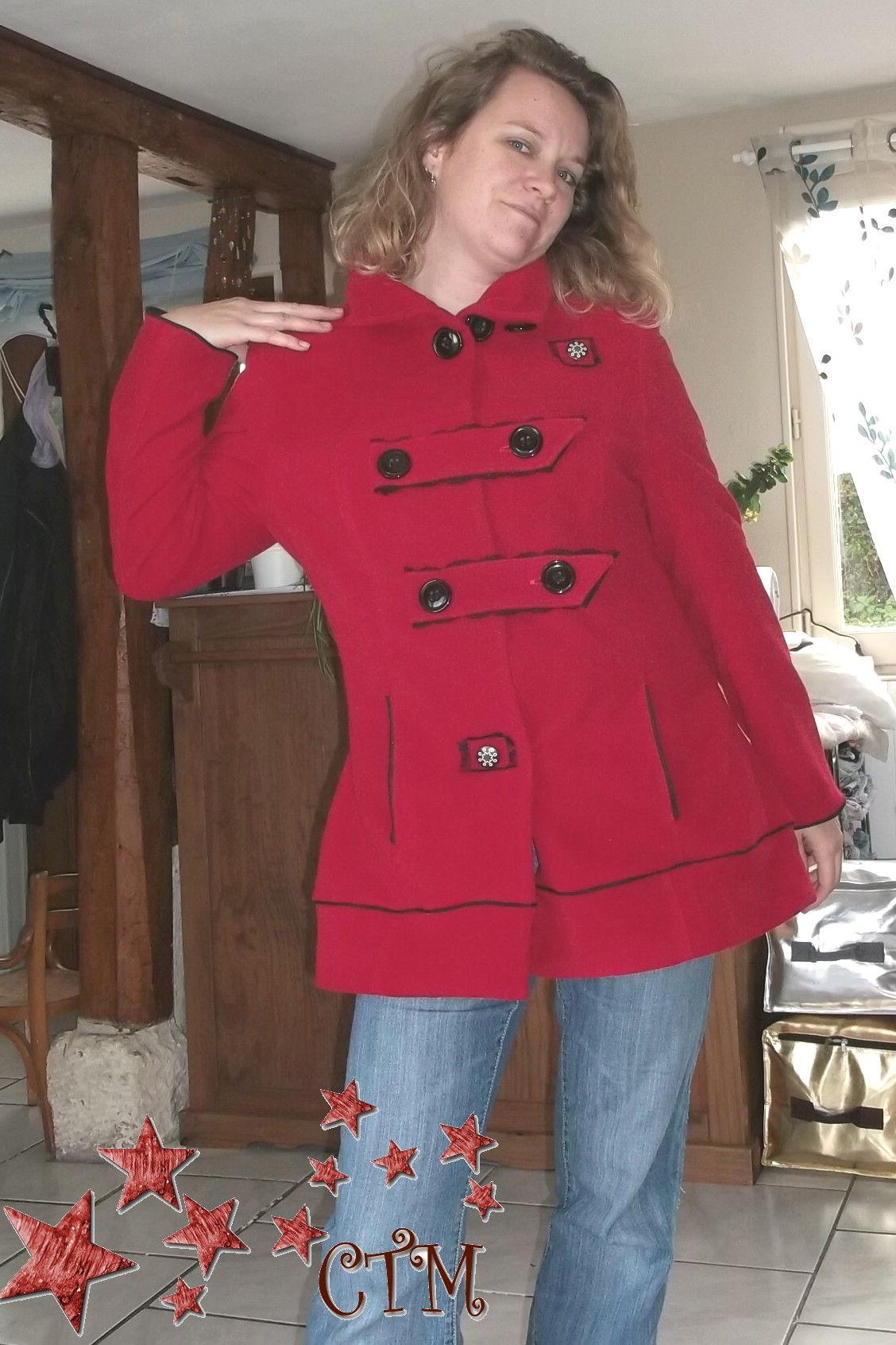 custumisation d'un manteau long à ceinture en veste