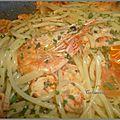 Pâtes aux crevettes et écrevisses