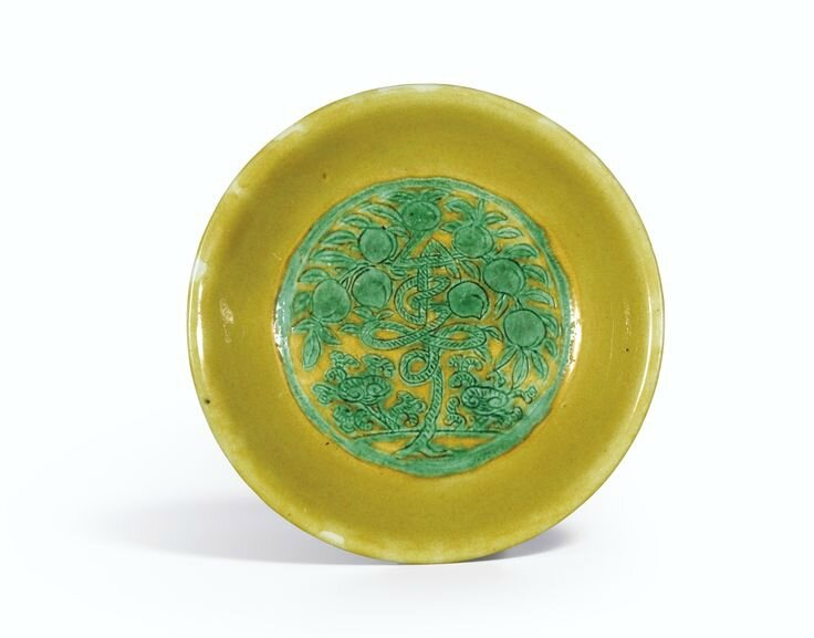 A yellow-ground green-enamelled 'Longevity' dish, Jiajing mark and period