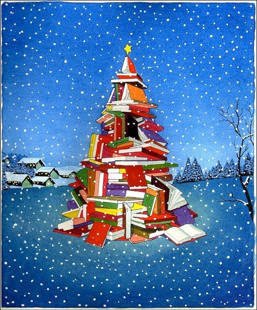 Yan-Nascimbene-Tree-of-Books-for-Barnes-Noble-Christmas-watercolor