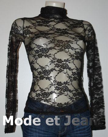 ba197885bea86 TOP DENTELLE NOIR COL MONTANT Femme SEXY - Blog de la mode du jeans