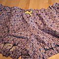Culotte BIANCA en coton imprimé carrés bleu - noeud de sergé gros grain jaune (3)