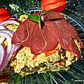Omelette soufflée aux légumes / lait d'amande et tranches de magret de canard fumé