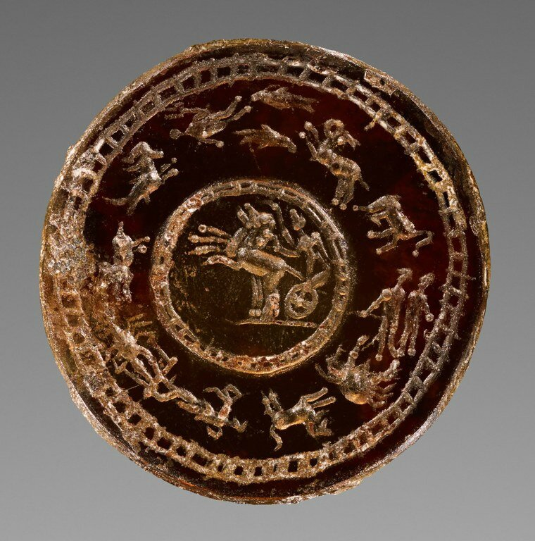 Gem Engraved with Nike (Victoria) Driving Chariot and Zodiac