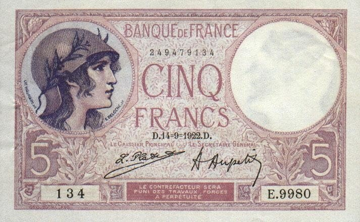 1918-10-04 - Billet de 5 francs recto