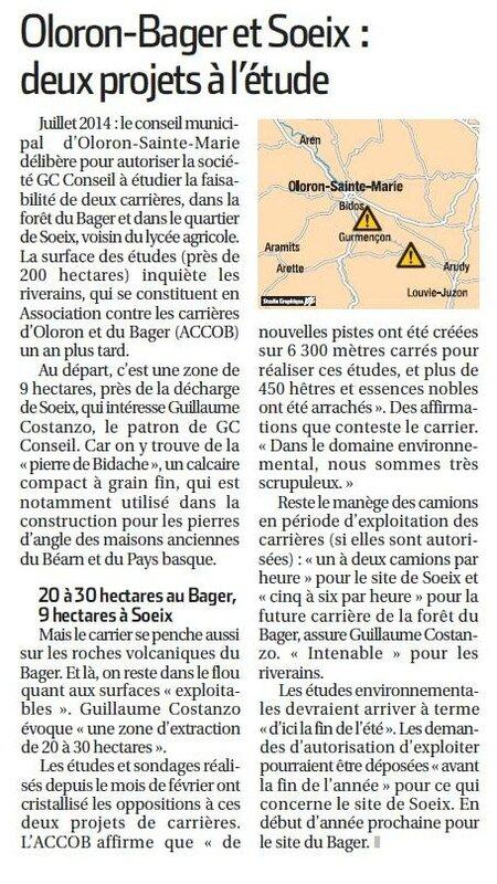 La République des Pyrénées carrières oloron Bager