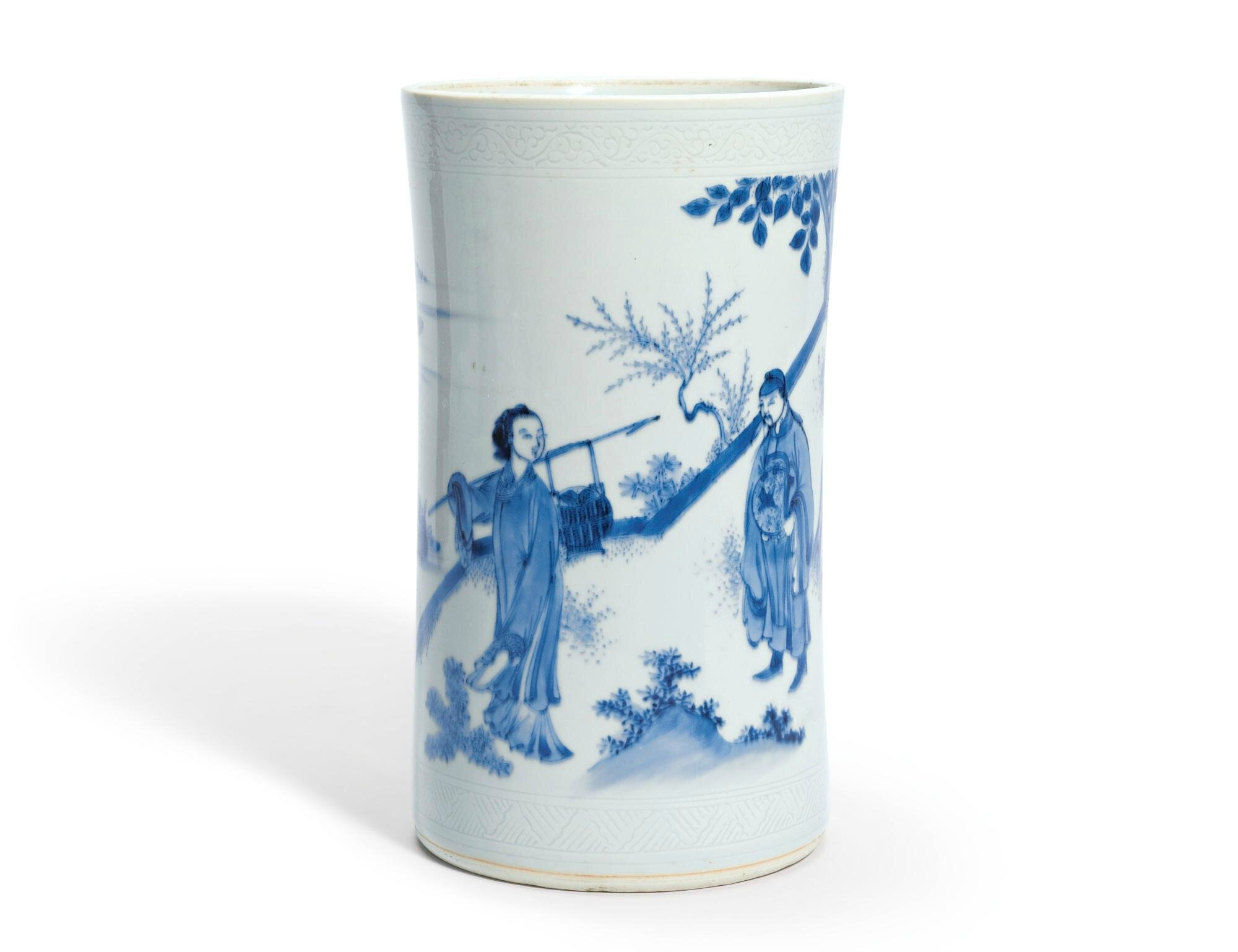 A blue and white 'figural' brushpot, Ming Dynasty, Chongzhen Period
