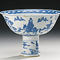 A blue and white stembowl, jiajing mark and period (1522-1566)