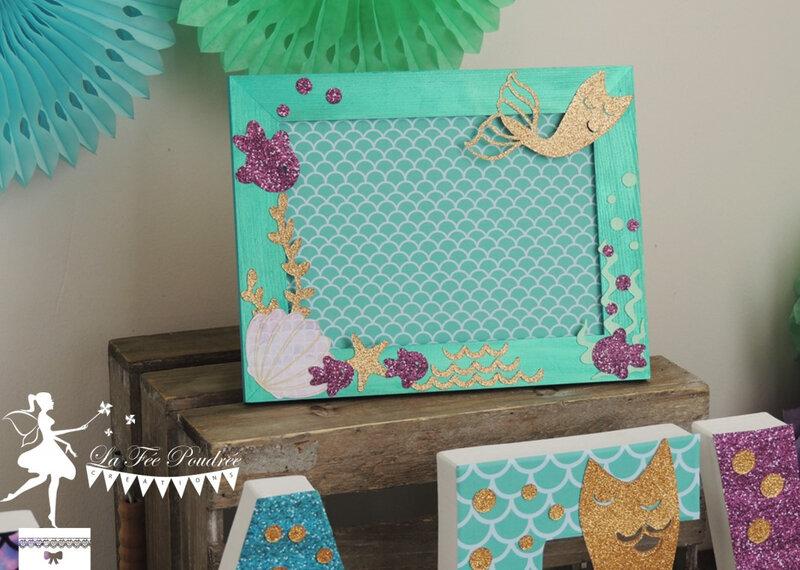 Décoration bapteme chambre enfant theme sirène cadre lettre décorée turquoise vert mint