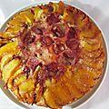 Gâteau renversé aux pêches et fraises