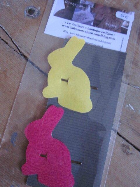 Carte de 2 pinces à cheveux LAPIN en coton, une jhaune, l'autre fushia