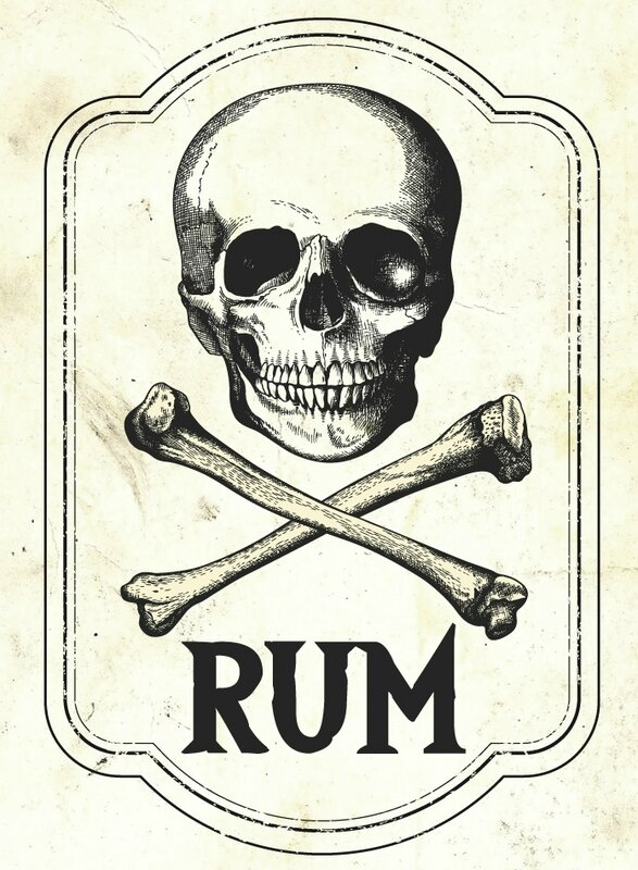 label halloween pirate rum