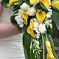 Bouquet de Mariée retombant Calla, Teagrass & Dendrobium