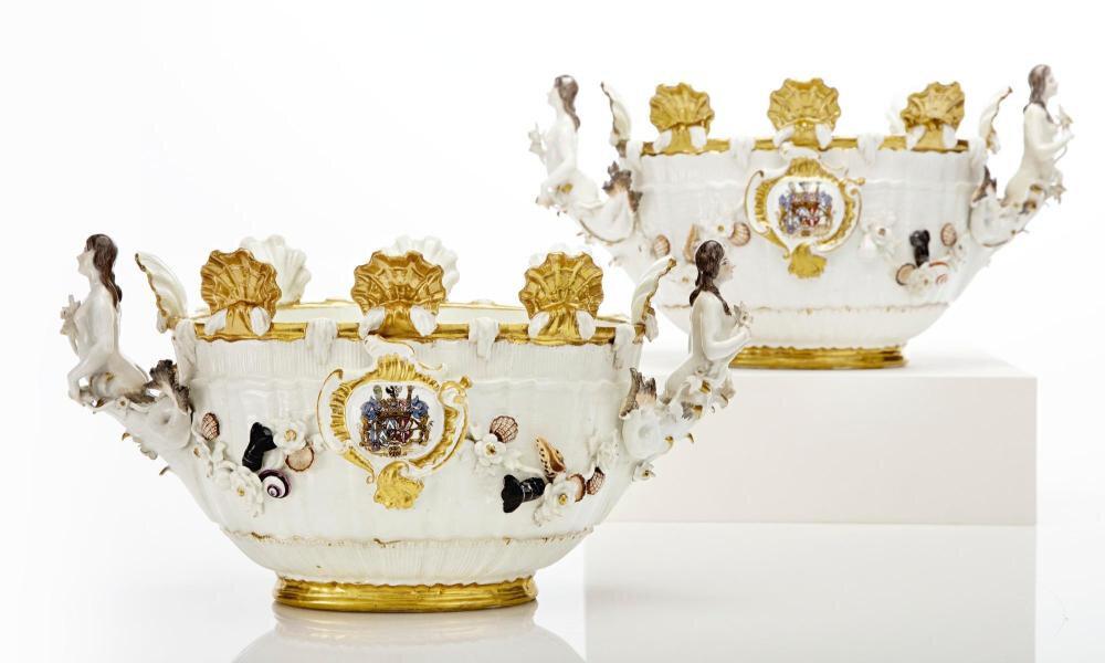 Pottery, Porcelain & Glass Initiative Service Tea Decor Floral Porcelain Delicate Volume Large Pottery