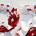 Création de couronnes de noël en papier / décoration de noël en papier pour vitrines