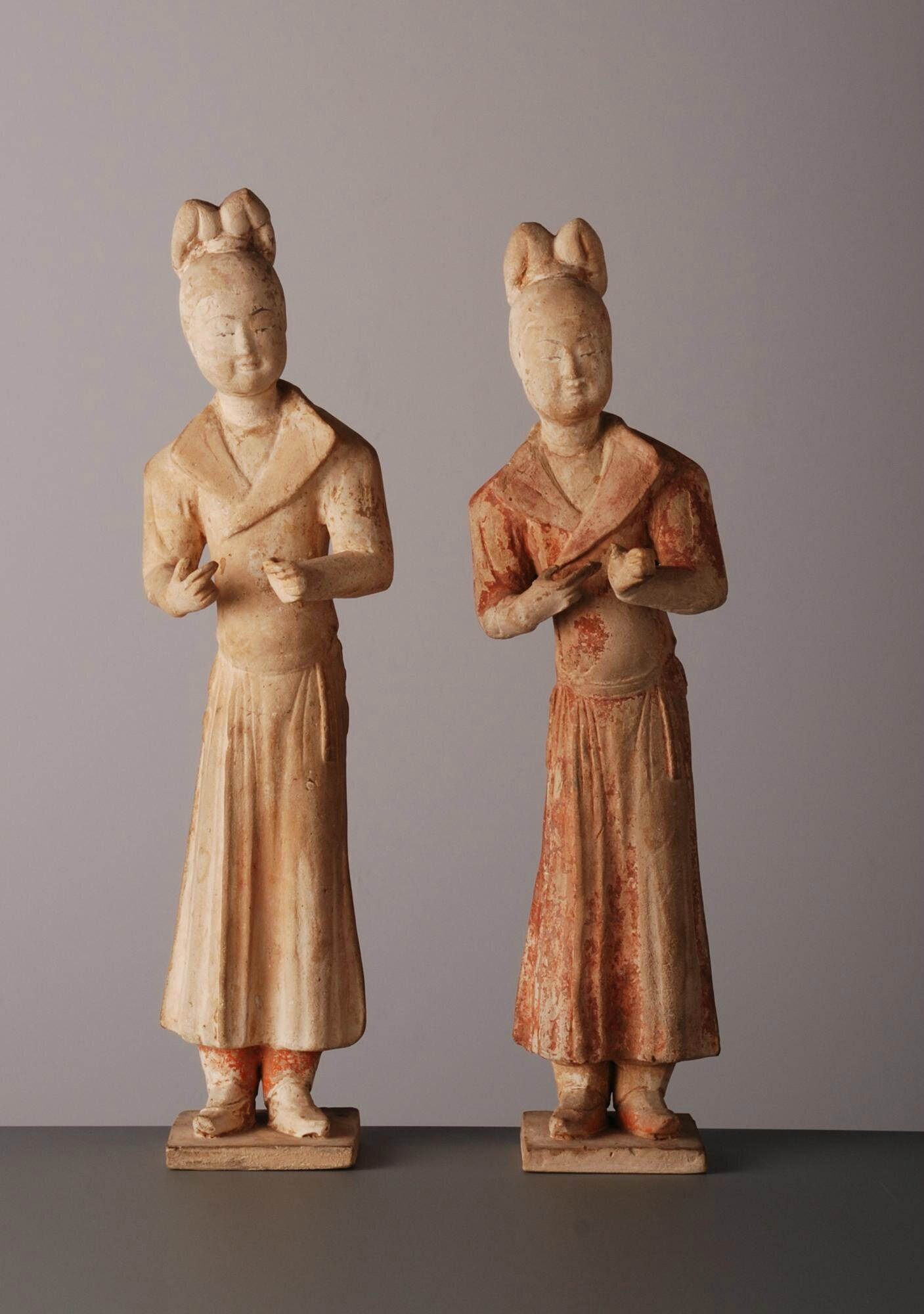 Pair of Pottery Figures, China, Tang Dynasty (618-907)