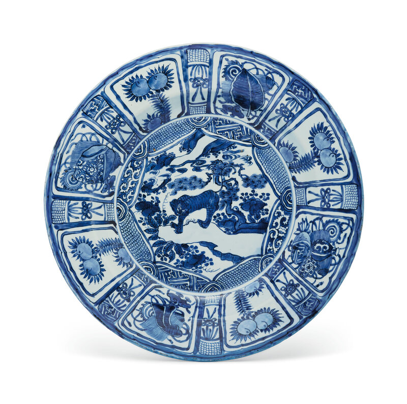 A very large blue and white 'Kraak' charger, Wanli period (1573-1619)