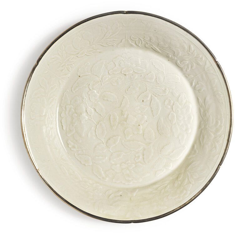 A finely molded 'Ding' 'peony' dish, Northern Song-Jin dynasty (960-1234)