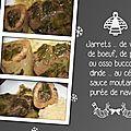 Jarrets ... de veau, de boeuf, de porc ou osso bucco de dinde ... au céleri, sauce moutarde, purée de navets